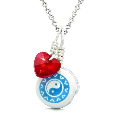Lucky Ying Yang Balance - Handcrafted Cute Ceramic Lucky Charm Aqua Yin Yang Red Heart Balance Amulet Pendant 22 Inch Necklace
