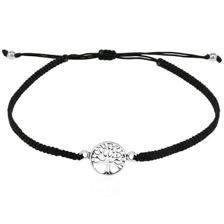 Spiritual Mini Tree of Life .925 Sterling Silver Charm on Cotton Rope Adjustable Wrist Pull Bracelet Croton Silver Bracelet