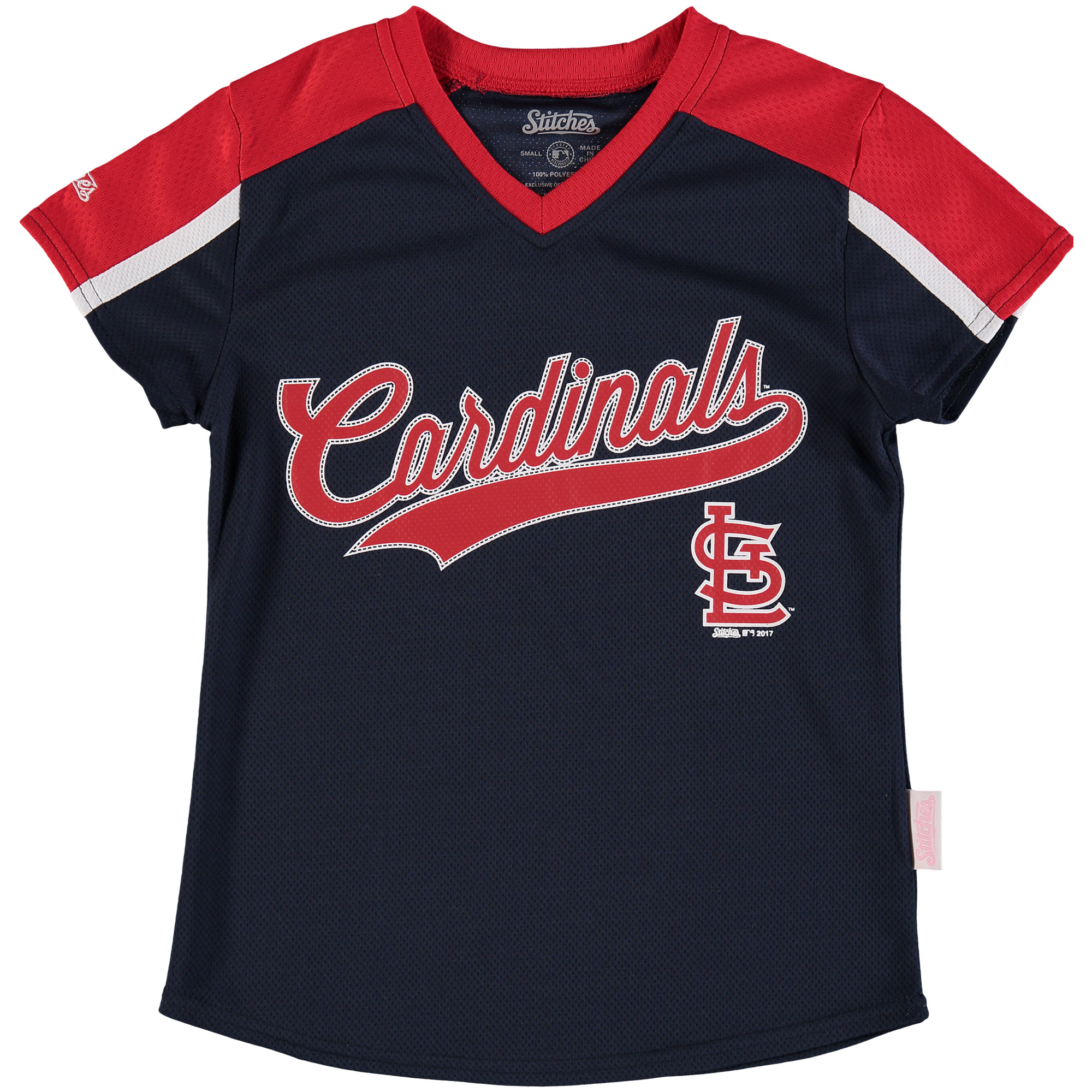 St. Louis Cardinals Stitches Girls Youth V-Neck Jersey T-Shirt - Navy/Red