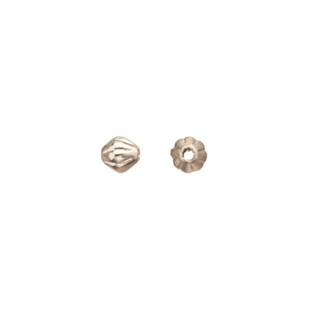 Brass Bicone - 100pcs Bicone Corrugated Bead Rhodium-Finished Brass 3.5mm