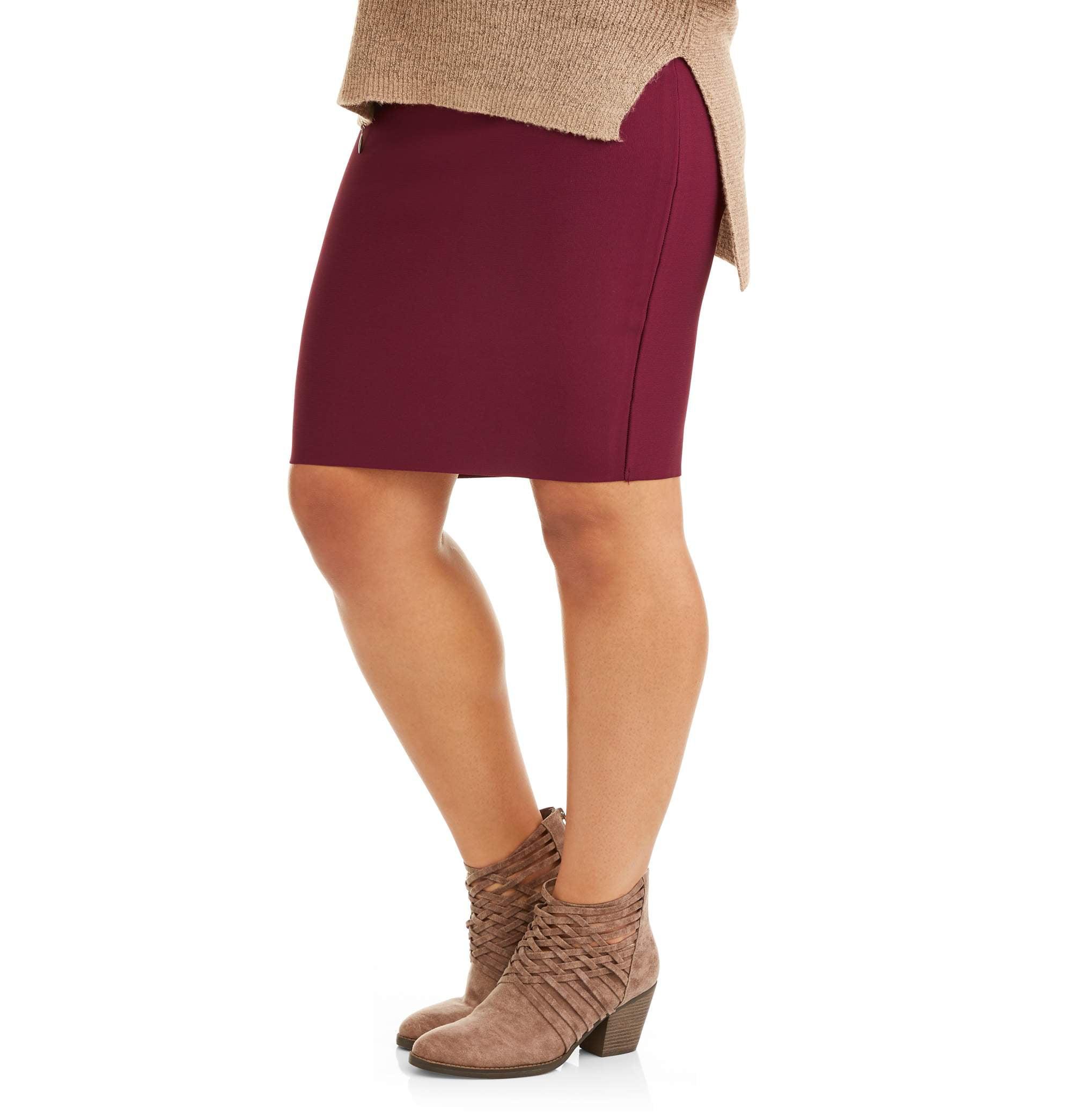 Junior's Plus Sweater Bandage Slimming Pencil Skirt