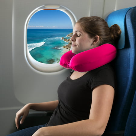 Memory-Foam-Travel-Pillow-Round-U-Shaped-Neck-Head-Support-with-Pillowcase-Protector-for-Sleeping-Airplanes-Train-and-Camping-by-Somerset-Home