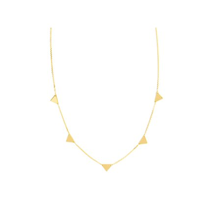 14k Yellow Gold Solid 5 Triangle Necklace Adjustable Length