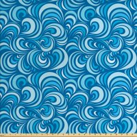 Blue Fabric by The Yard, Marine Waves Pattern Abstract Curly Forms Spirals Sea Inspired Aquatic Art Design, Decorative Fabric for Upholstery and Home Accents, by Ambesonne