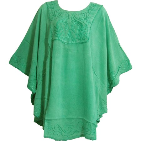 Ghillie Poncho Leafy Green - Missy Plus Bohemian Gypsy Embroidered Poncho Caftan Blouse Jiya - #7 Solid Sea Green