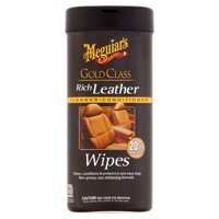 Meguiar's Gold Class Rich Leather Wipes  Leather Cleaner & Conditioner  G10900, 25 Wipes