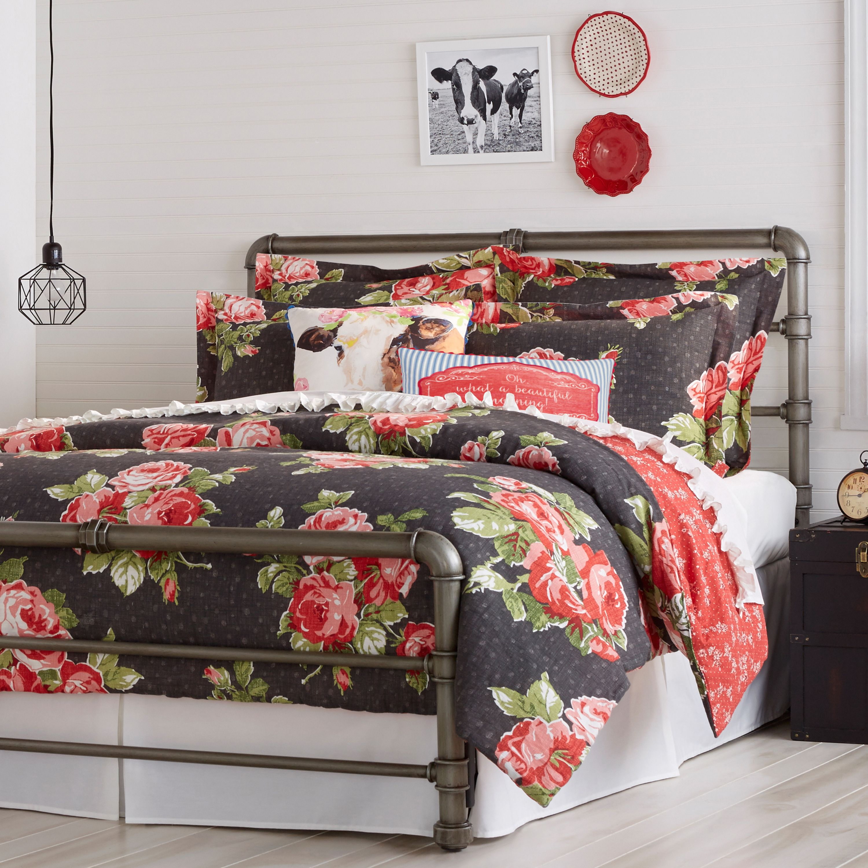 Pioneer Woman Rose Garden Duvet Cover, Grey