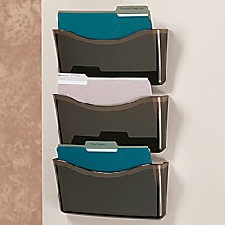 Office Depot Unbreakable 3-Pocket Letter-Size Wall Files, Black, Pack Of 3, 59765