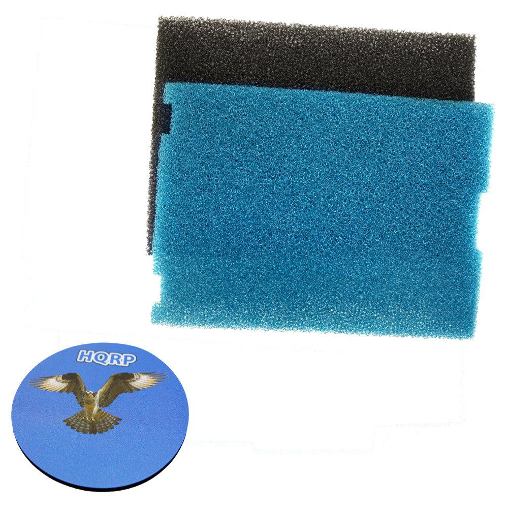 HQRP Coarse and Fine Flat Box Filter Foam Pads for Tetra SF1 / #26592 Submersible Pond Filter + HQRP Coaster