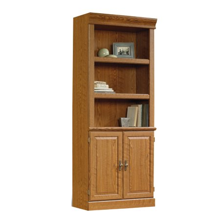 Sauder Orchard Hills Library With Doors Carolina Oak Finish