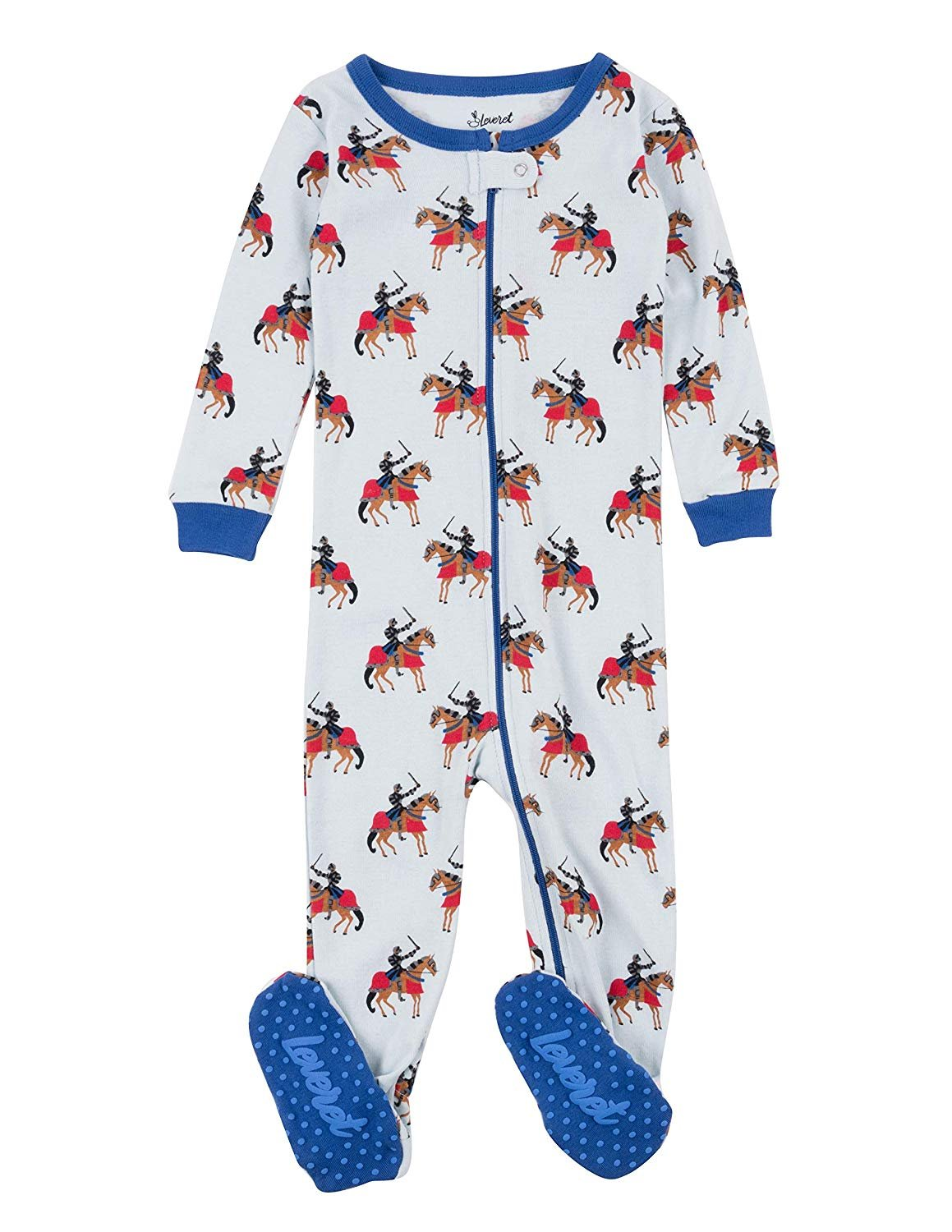 Leveret Kids Pajamas Baby Boys Girls Footed Pajamas Sleeper 100% Cotton (Knight, Size 18-24 Months)