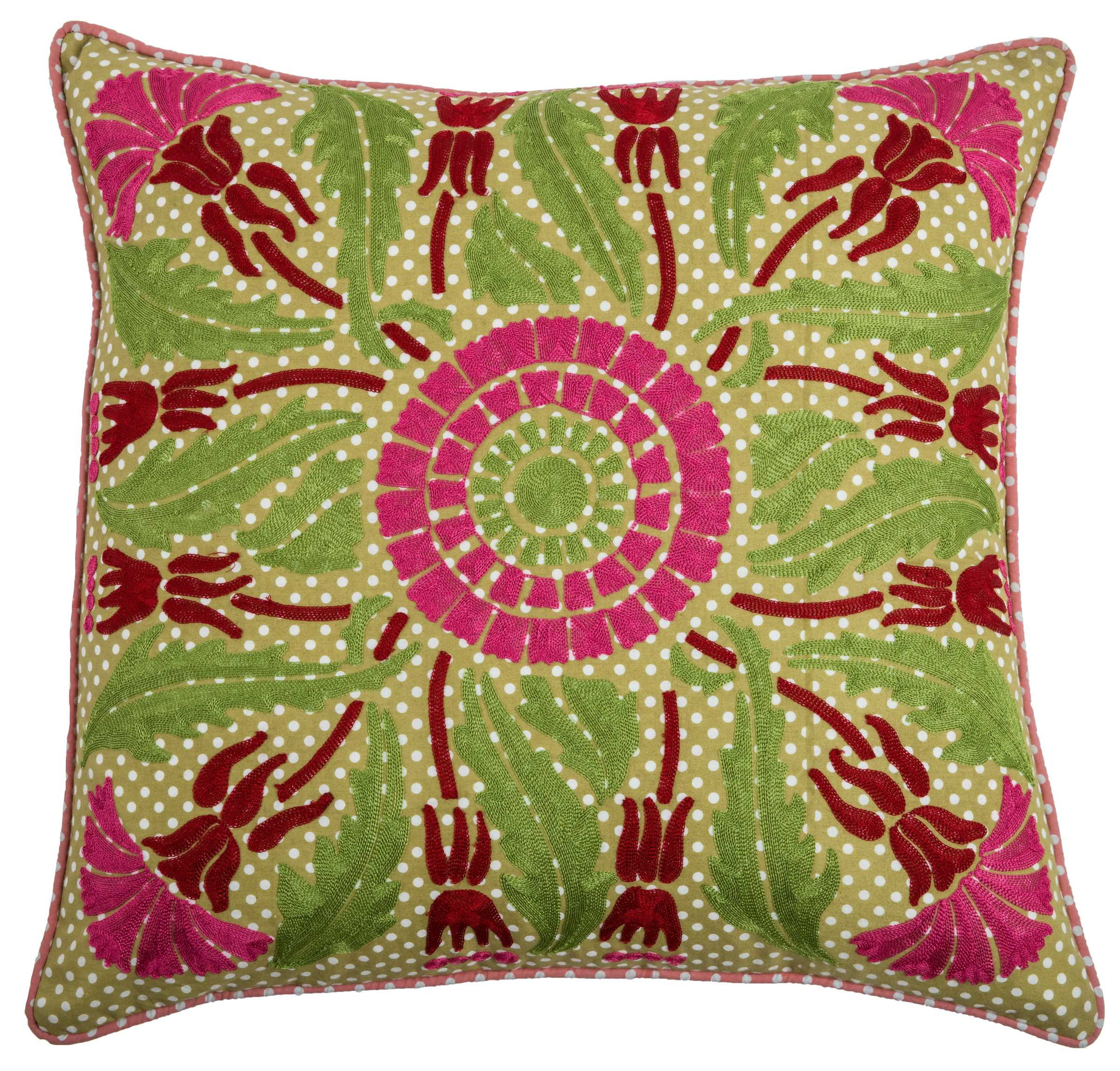 """Rizzy Home Decorative Poly Filled Throw Pillow Floral 20""""X20"""" Green"""