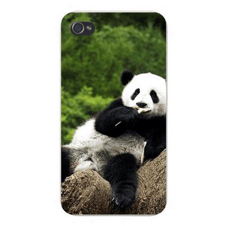 - Apple Iphone Custom Case 5 / 5s White Plastic Snap on - Lounging & Eating Panda Bear