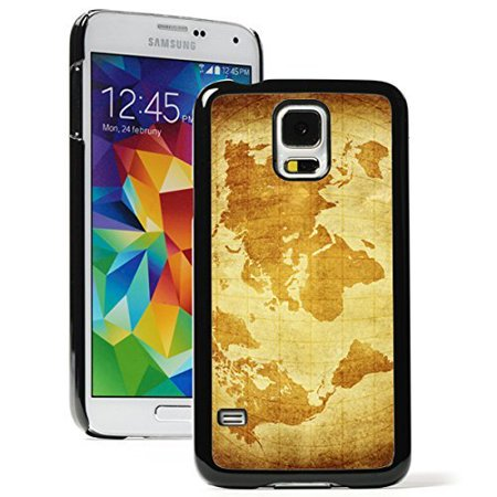best website d6646 f088b Samsung Galaxy (S5 Active) Hard Back Case Cover Brown World Map Design  (Black)