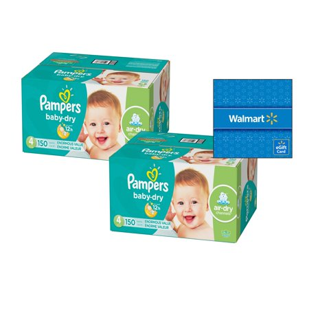 [Buy 2, Get $15 Gift Card] Pampers Baby-Dry Diapers Size 4, 150 Count (Total 300 -