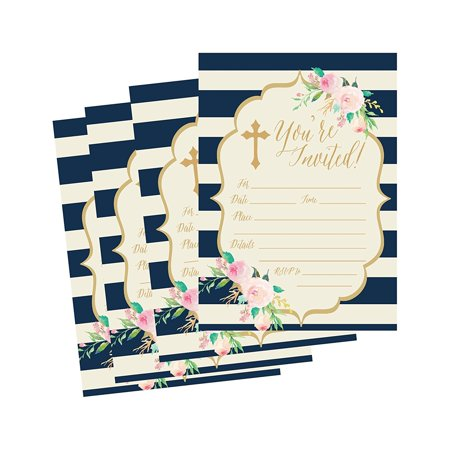 50 Navy Religious Invitations, Confirmation, Holy Communion, Baptism, Christening, Baby Dedication or Blessing, Reconciliation, 1st First Communion Invites, Easter Party Invitation Cards (First Holy Communion Invitations)