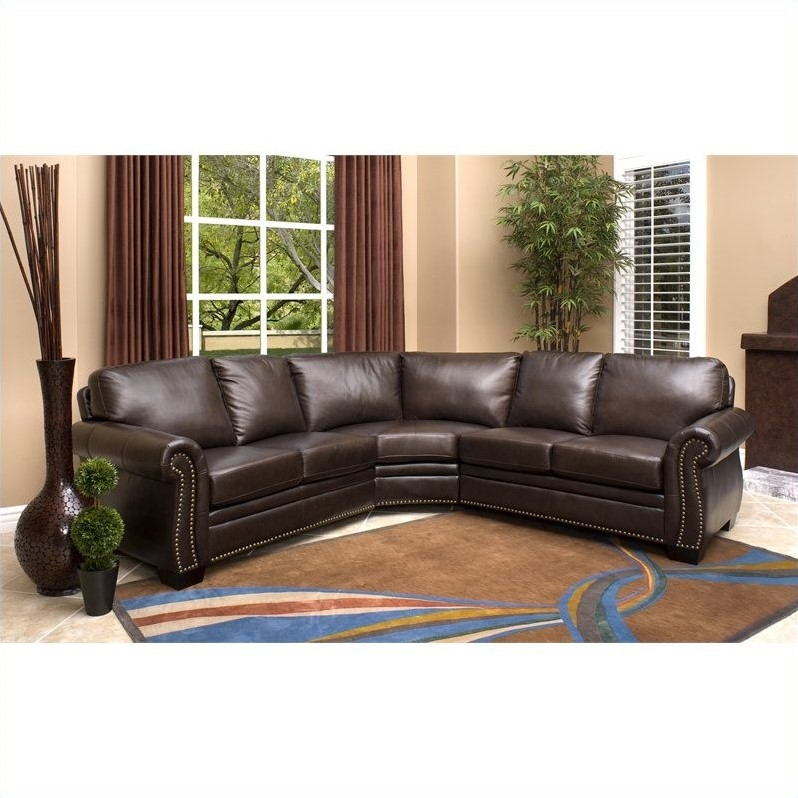 Superbe Abbyson Living Arizona 3 Piece Leather Sectional Sofa In Dark Truffle