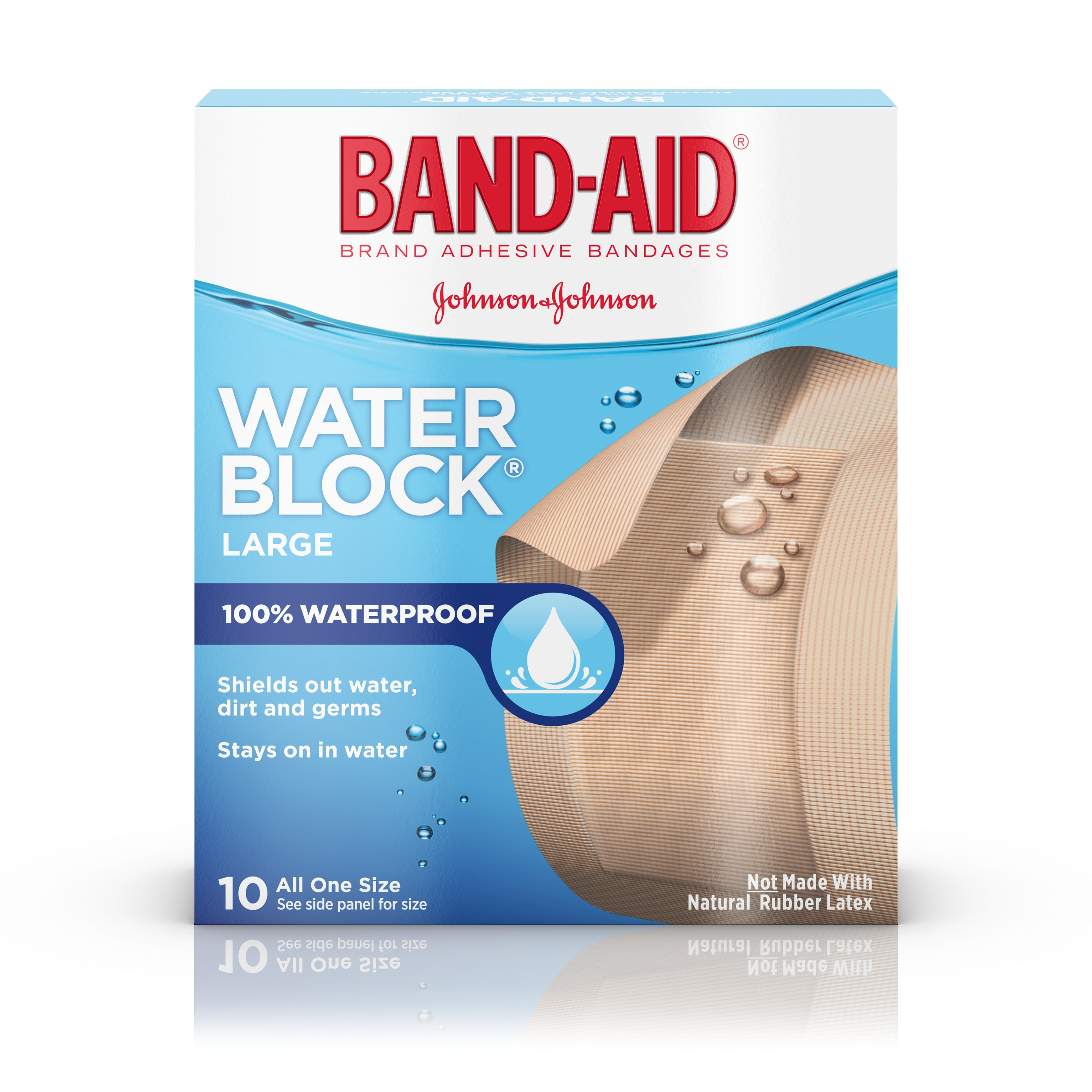 100% Waterproof Large Band-Aid Brand Water Block Plus Adhesive Bandages, 10 ct