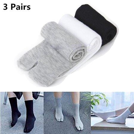 SUPERHOMUSE 3 Pairs Split Toe Socks, Japanese Kimono Flip Flop Sandal Split Toe Tabi Ninja Geta (Zemgear 360 Ninja Split Toe Running Series)