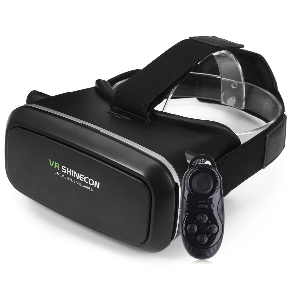 VR SHINECON 3D Virtual Reality Head-Mounted 3D Video Glasses with B100 Bluetooth 3.0 Remote Controller for Smartphone