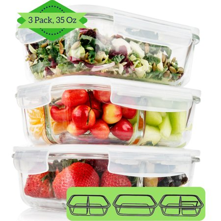 12a37255fb36 1 & 2 & 3 Compartment Glass Meal Prep Containers (3 Pack, 35 Oz ...