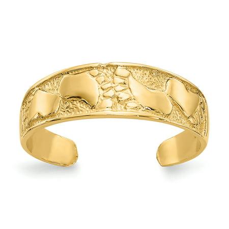 Women's 14K Yellow Gold Footprints Toe Ring 14k Twisted Toe Ring