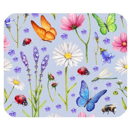 MKHERT Green Floral Flying Butterfly, Insect and Flower Rectangle Mousepad Mat For Mouse Mice Size 9.84x7.87 inches](Butterflies Flying)