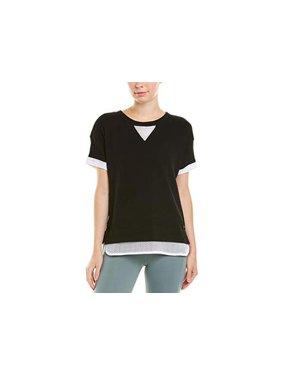 Marc New York Performance Women's Short Sleeve 2fer, Black/White, Size Small