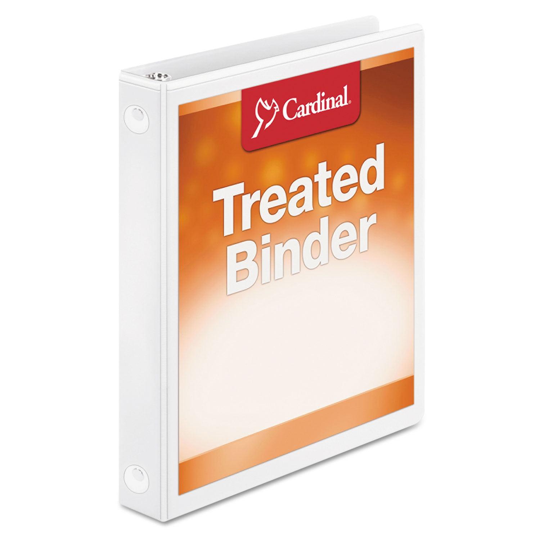 "Treated Binder ClearVue Locking Round Ring Binder, 1"" Cap, 11 x 8 1/2, White"