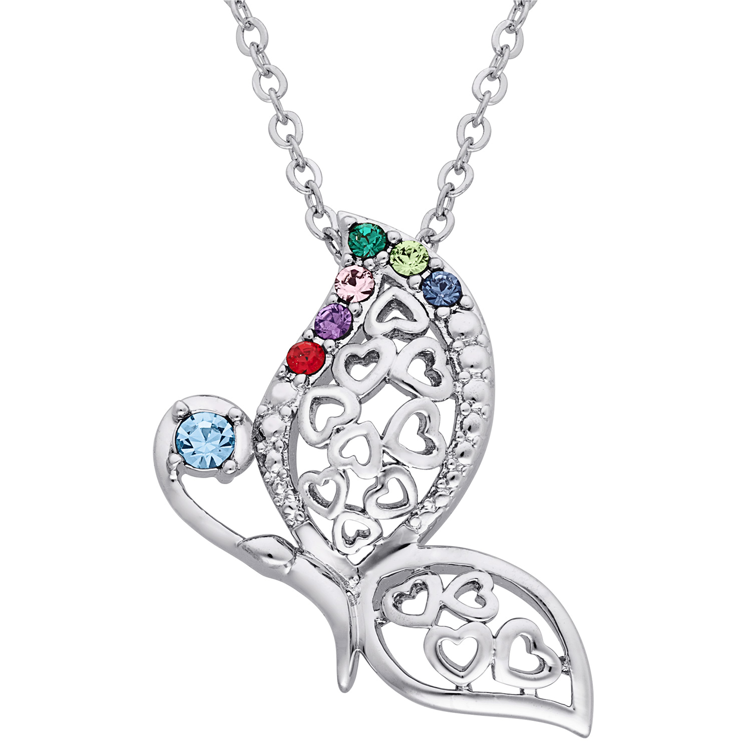 Family Jewelry Personalized Mother's Silvertone or Goldtone Butterfly Birthstone Hearts Pendant