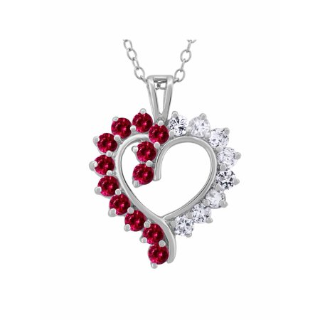 Created Ruby Sapphire and CZ Sterling Silver Open Heart Pendant, (Cubic Zirconia Open Heart Pendant)