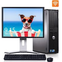 "Dell Desktop Computer Bundle Intel Core 2 Duo 4GB RAM 160GB HD DVD 300Mps Wifi Bluetooth with a 17"" LCD Windows 10 PC - Refurbished"