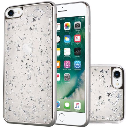 For Apple iPhone 8 iPhone 7 Frozen Glitter with Electroplated Chrome Bumper Edges - Silver/Silver