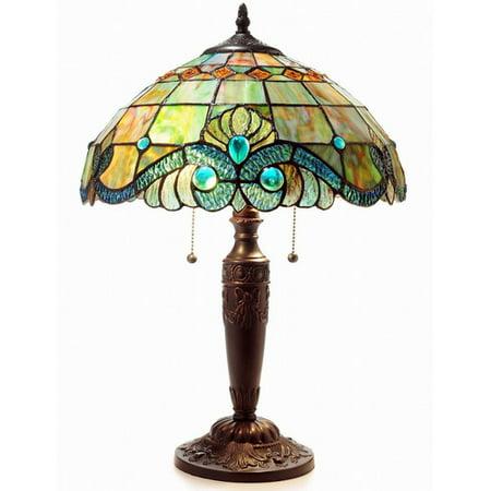 Pearl Oil Lamp - Serena d'italia Tiffany 2 light Pearl Vintage 25 in. Table Lamp