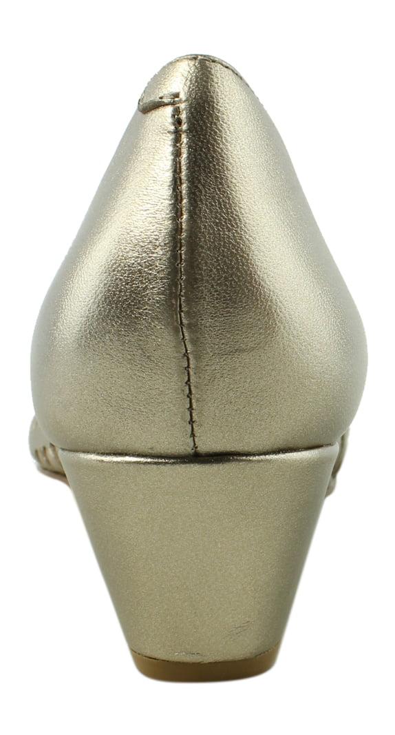 New FS/NY Womens Gold Open Toe Heels Size 10
