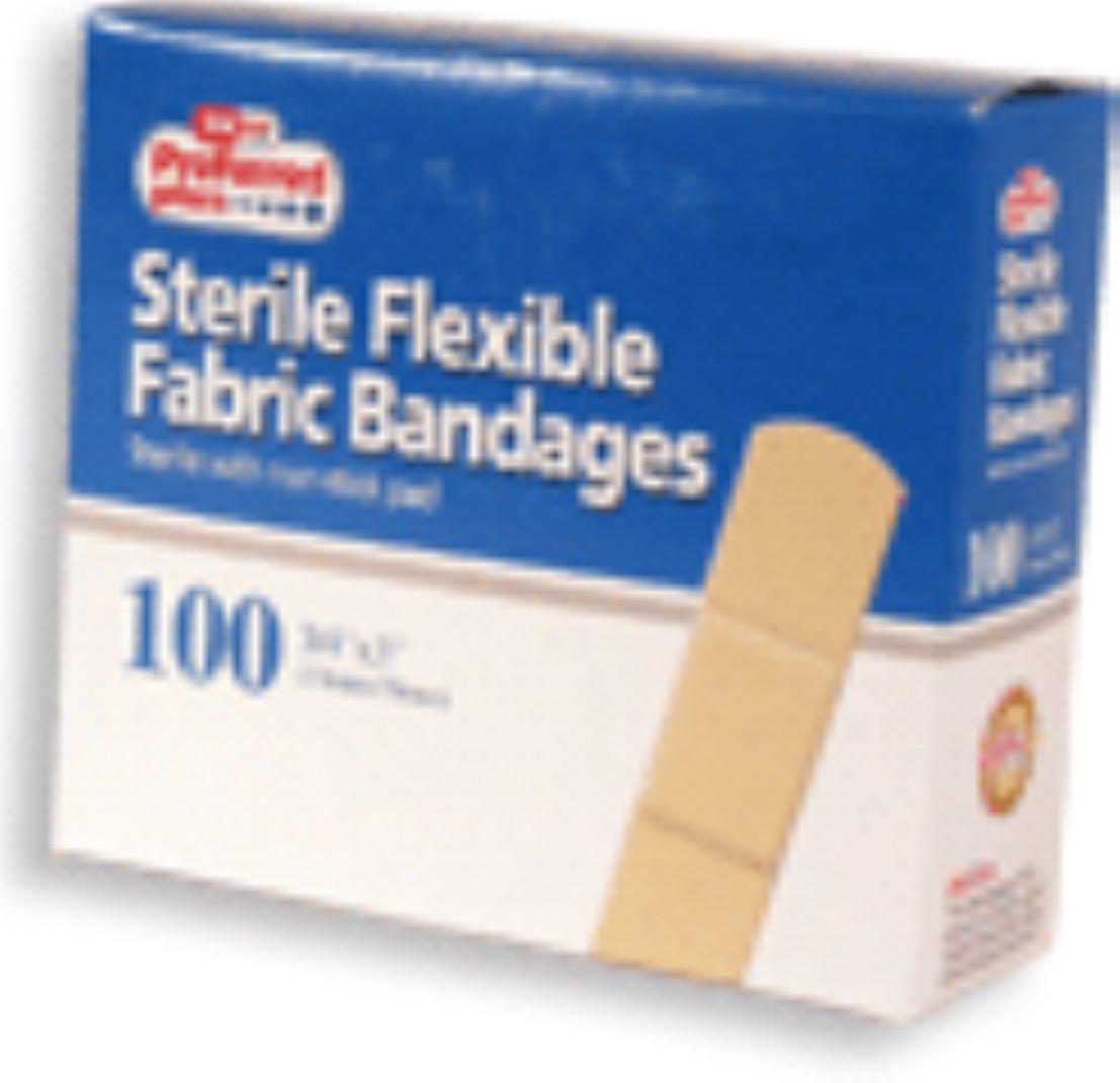 Bandages Flexible Fabric Adhesive  3/4 Inch X 3 Inches 100 ea (Pack of 3)