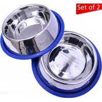 Set of 2 Etched Stainless Steel Dog Bowls by Mr. Peanut's, Easy to Clean, Bacteria & Rust Resistant, with Non-Skid No-Tip Silicone Ring, Feeding Bowls for Dogs (2 Pak / 32oz Each Bowl)