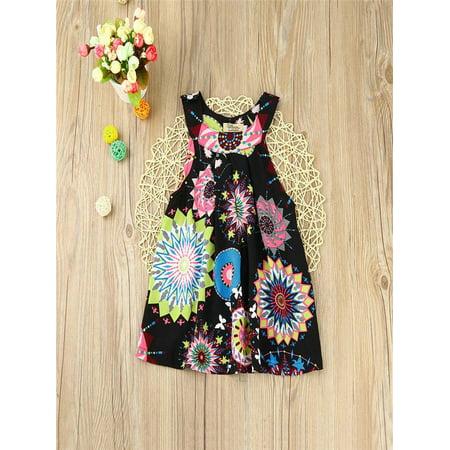 Toddler Baby Kids Girls Flower Bohemian Princess Dress Beach Sundress Clothes - Bohemian Girl Dresses