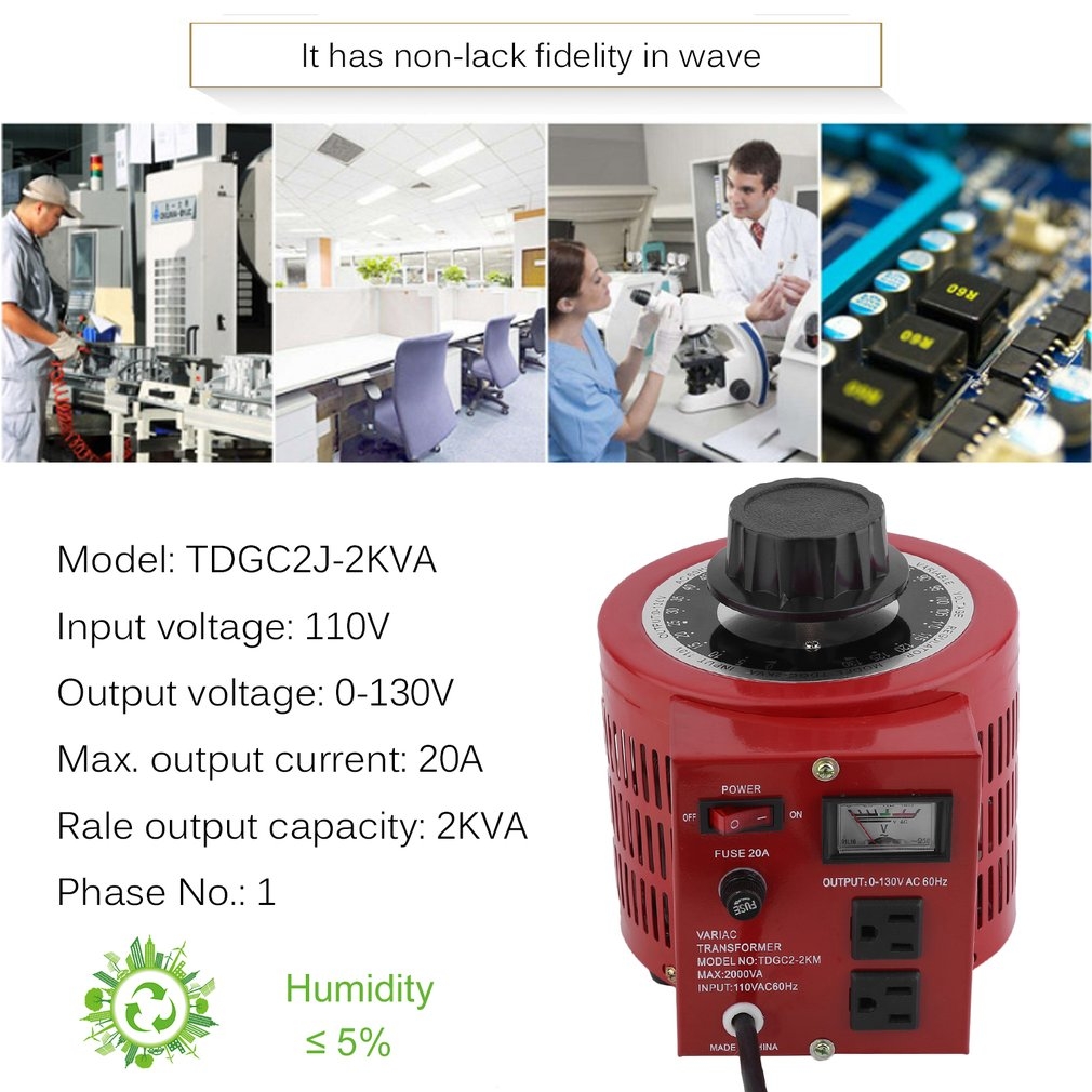 OUTAD Digital AC Voltage Regulator 110V 2000W Single-Phase Variac Transformer, red