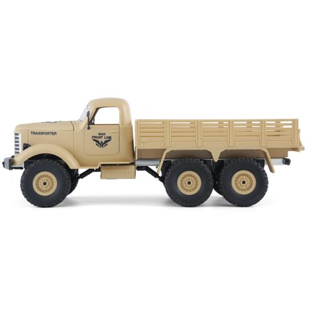 JJRC Q60 1:16 2.4G 2CH 6WD Remote Control Tracked Off-Road Military Truck RC Car RTR  Brush motor Birthday Gifts - image 1 de 12