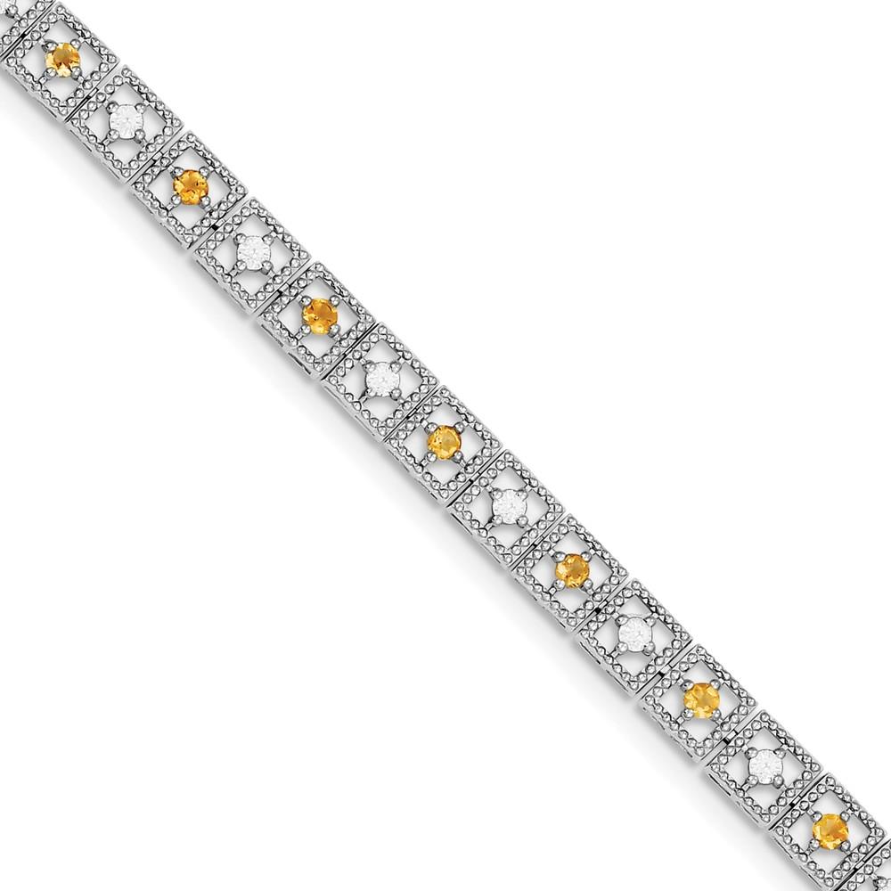 "925 Sterling Silver (0.02cttw) Citrine Diamond Bracelet -7"" (7in x 6mm) by"