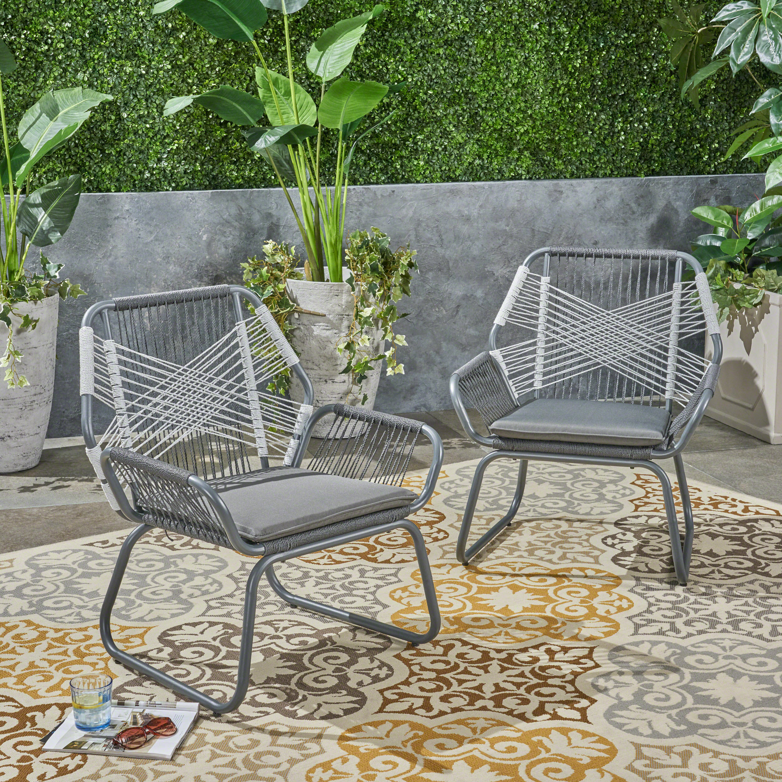 Gloria Outdoor Rope and Steel Club Chairs, Set of 2, Gray and White