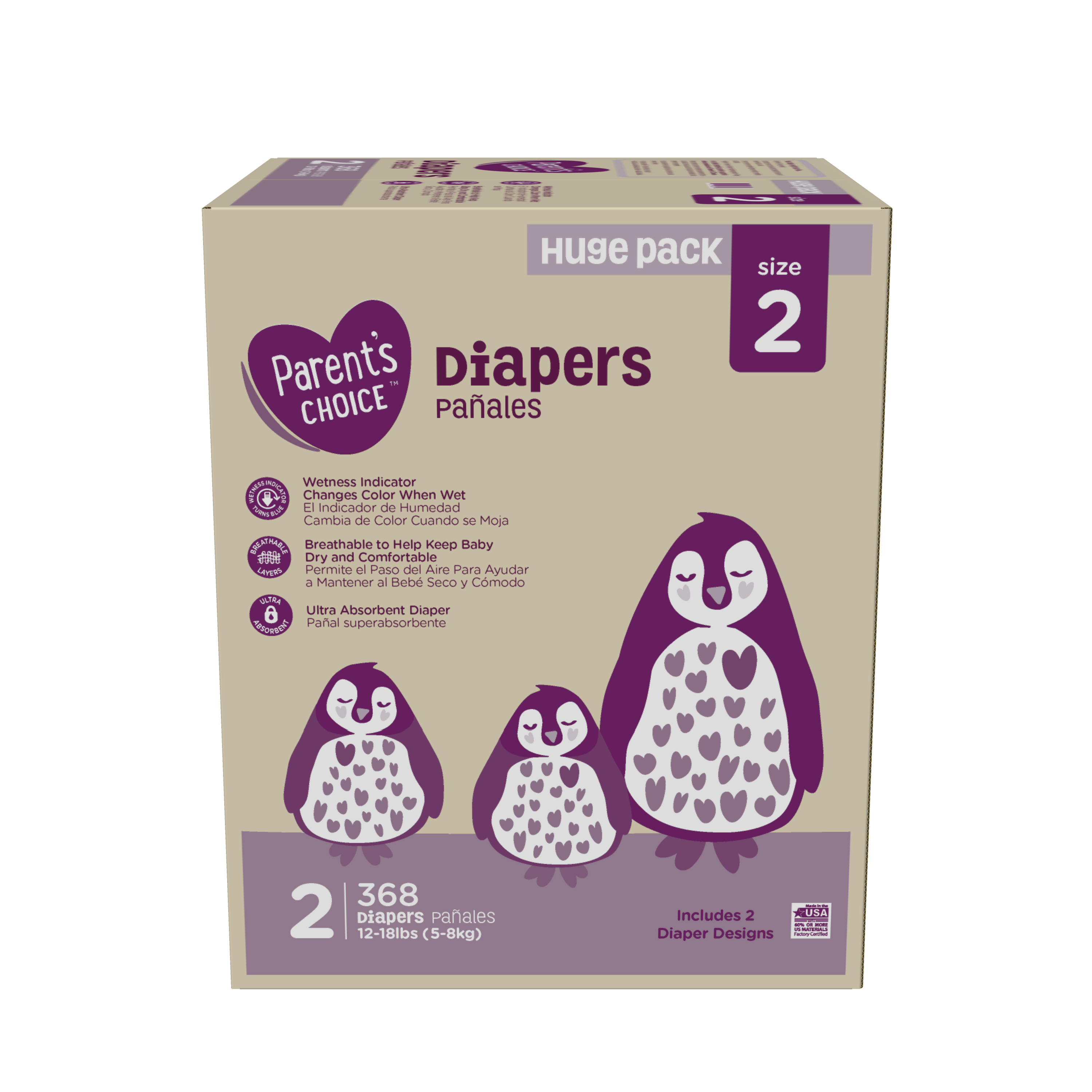 bba650281ae Parent's Choice Diapers, Size 2, 368 Diapers (Mega Box) - Walmart.com