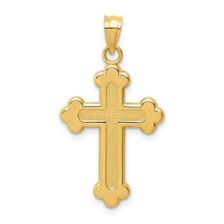 Roy Rose Jewelry 14K Yellow Gold Satin & Polished Budded Cross