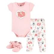 Hudson Baby Unisex Baby Cotton Bodysuit, Pant and Shoe Set, Girl Forest, 3-6 Months