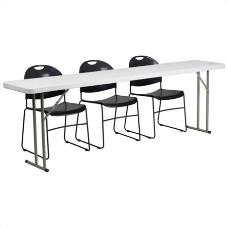 Bowery Hill Folding Table and 3 Stacking Chairs in Black and White ()