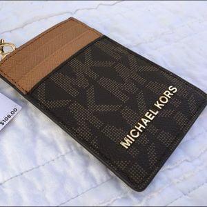 48103c964a4d ... Michael Kors Lanyard ID Card Case Wallet Travel Jet Set Travel Brown .