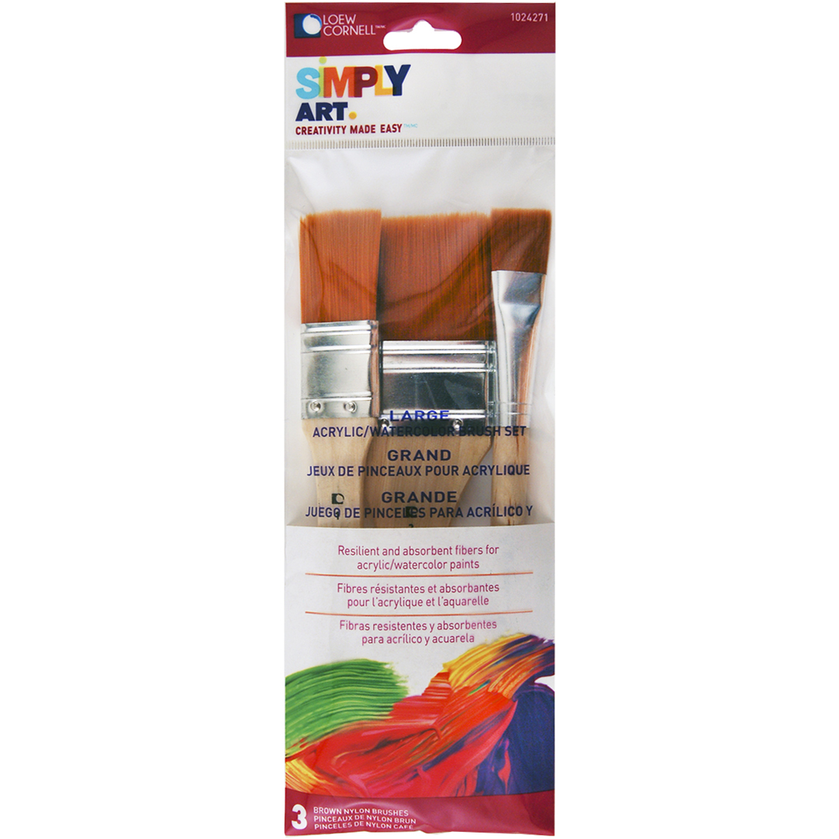 "Simply Art Large Nylon Flat Brush 3/Set-3/4"", 1"", & 2"""