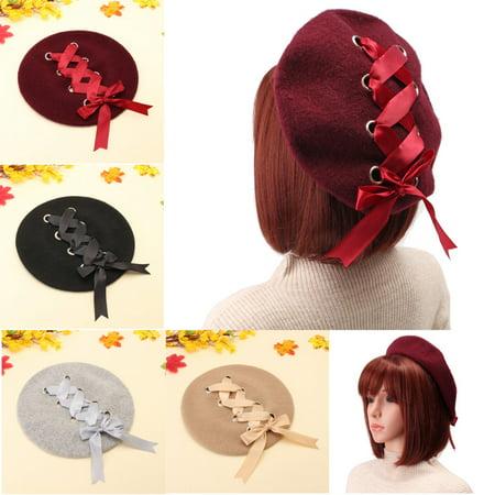 Winter Fashion Vintage Girls Winter Cute Lolita Beret Headwear Velvet Lace-up Painting Hat