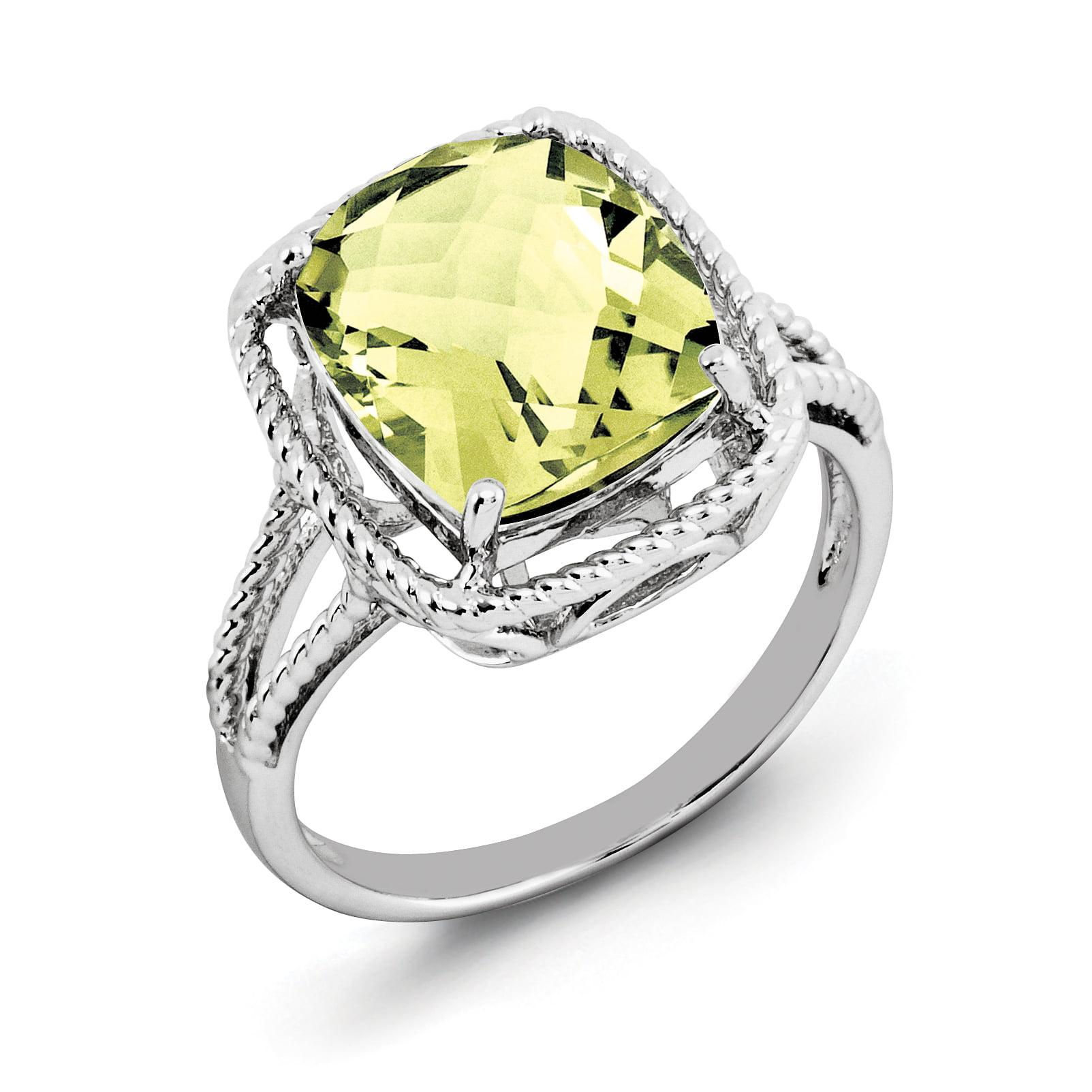 Sterling Silver Rhodium Checker-Cut Lemon Quartz Ring Size 7 - image 2 de 2
